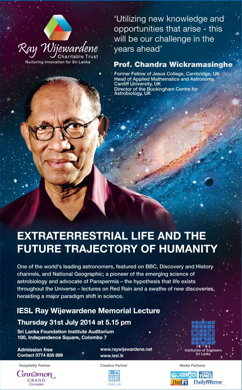 Ray Wijewardene memorial lecture by Prof Chandra Wickramasinghe