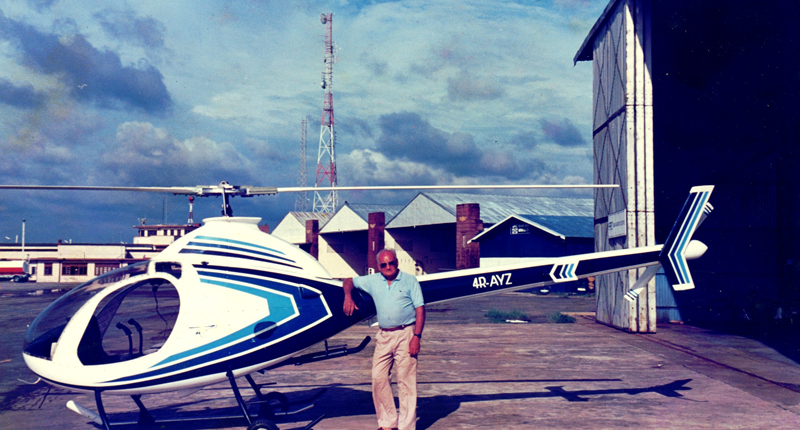 Ray Wijewardene with one of his home-built helicopters